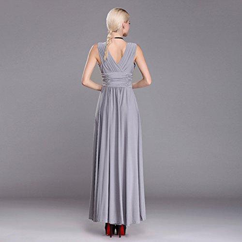 Moollyfox Femme Maxi Robe Longue Cou V Sans Manches,Grande Taille Robe de Soirée, Robe de Parti Gris