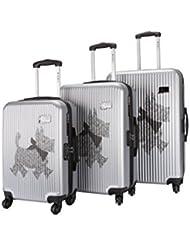 Chipie-Lot de 3 trolleys Rigides SPR Argent