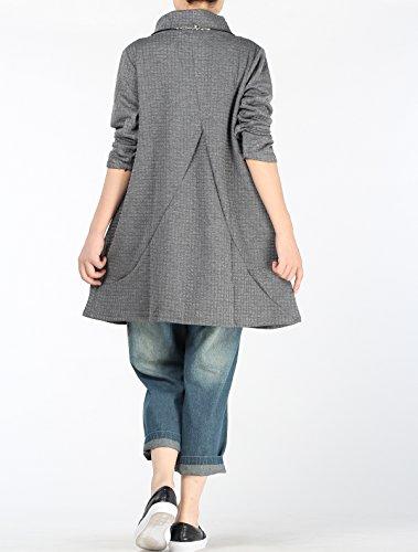 Vogstyle Frauen New Wasserfallausschnitt Langarm Kleid Grau