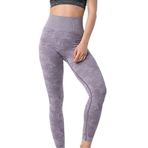 MKLVWU Eng anliegende Stretch-Yogahose mit Tarnung für Damen, Neue sexy, schlanke Laufsportkleidung für Damen Lila L -