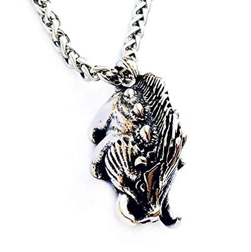 JUxh Wildschwein Halskette Titan Stahl Anhänger Männerschmuck