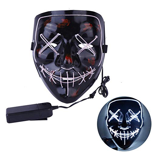 ween Mask EL Wire Light up LED Mask for Festival Party Cosplay Costume (White) ()