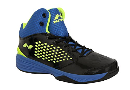 Nivia Warrior -1 Basketball Shoes Black Blue(8)
