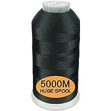 New brothread Negro Color Poliéster Bordado Máquina Hilo Grande carrete 5000M para todas las máquinas de
