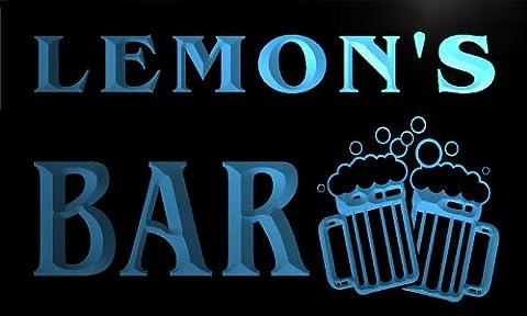 w002283-b LEMON'S Nom Accueil Bar Pub Beer Mugs Cheers Neon Sign Biere Enseigne Lumineuse