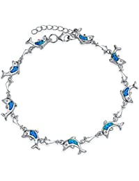 Bling Jewelry Synthetic Blue Opal Inlay Nautical Dolphin Link Bracelet Sterling Silver