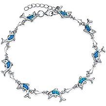Bling Jewelry Azul sintético Opal Inlay Delfín Náutica Link Bracelet Sterling Silver