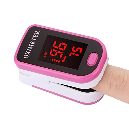 Finger Pulsoximeter mit LED Display, rose