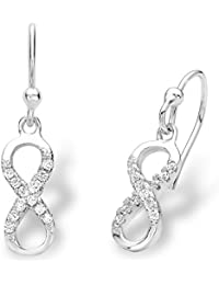 Amor Damen-Ohrhänger Infinity Unendlichkeitszeichen 925 Sterling Silber rhodiniert Zirkonia weiß