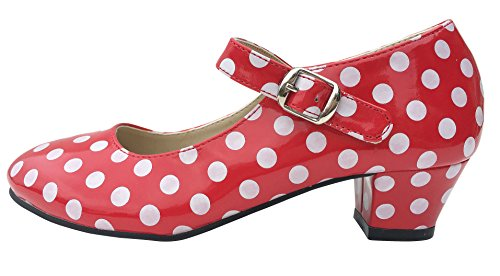 Zapatos de Sevillana rojos con lunares blancos
