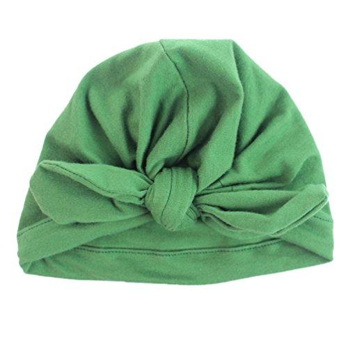 Babybekleidung Hüte & Mützen Winter Baby Kinder Mädchen Jungen Warme Baumwolle Mützen Bogen Knoten schönen weichen Hute (15.3*17.5cm) (Dark Green)
