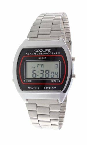 Reloj de Cuarzo digital Unisex metal Plata - CL2013G933 Coolife - Tecnología única - Iluminación de fondo - Estilo retro, Estético, Deportivo con Calendario automático y Cronómetro