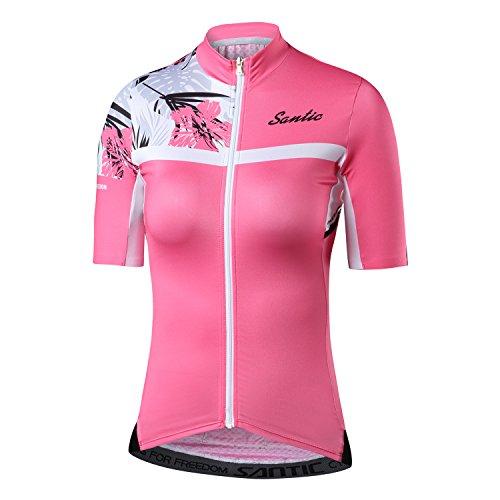Santic Radtrikot Damen Kurzarm Fahrradtrikot Damen Fahrradshirt Radshirt Kurzarm Sommer mit Taschen Rosa EU S