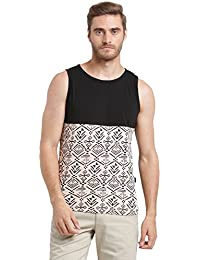 Rigo Black Pink Cut & Sew Printed With Round Bottom Sleeveless Vest For Men