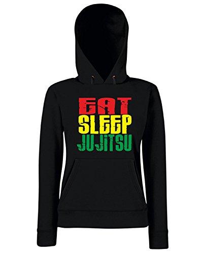 T-Shirtshock - Sweats a capuche Femme TAM0028 eat sleep ju jitsu white tshirt Noir