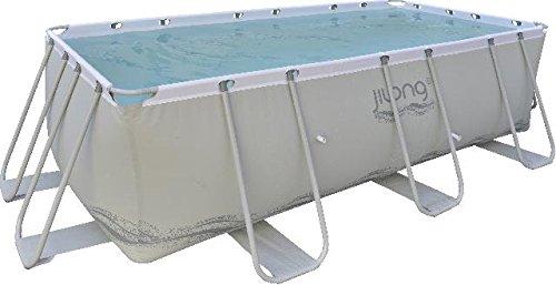 Passaat Swimming Pool 400x207x122 cm rechteck Becken, Stahlrohr Schwimmbecken Stahlrahmen Schwimmbad Familienpool Ersatzbecken ohne Zubehör für Garten und Terasse