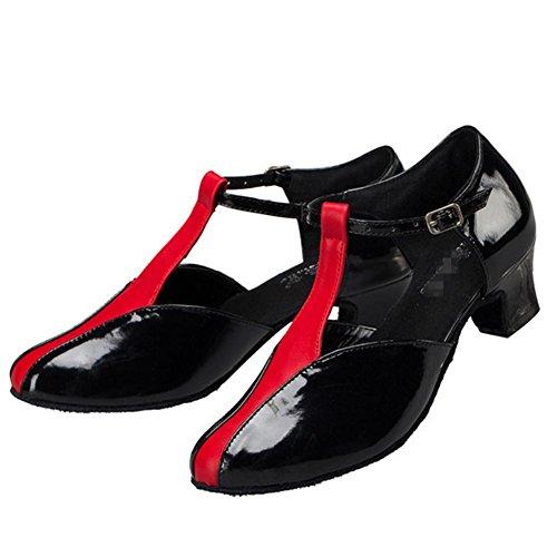 punta chiusa di cuoio pu high heel womens scarpe di tango della salsa della sala da ballo latino t-strap danza nero rosso A