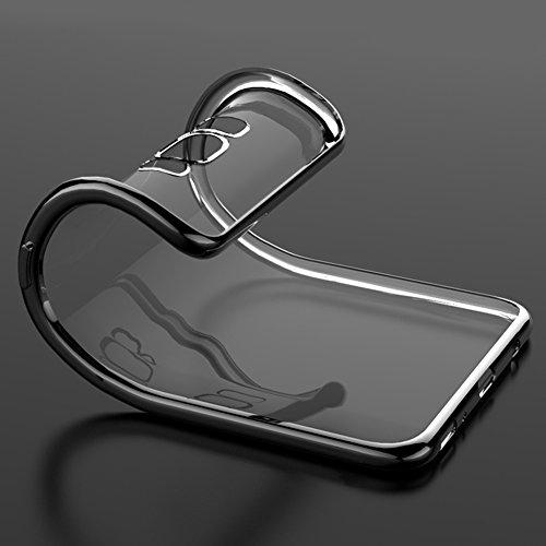 """Coque Samsung Galaxy S8+ / S8 Plus (6.2""""), MSVII® TPU Souple Transparent Bumper Coque Etui Housse Case et Protecteur écran Pour Samsung Galaxy S8+ / S8 Plus (6.2"""") - Noir JY60074 Argent"""