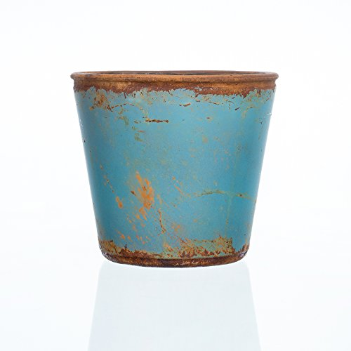 Glasblumentopf VINTAGE blau 12 cm Ø 13 cm von Sandra Rich