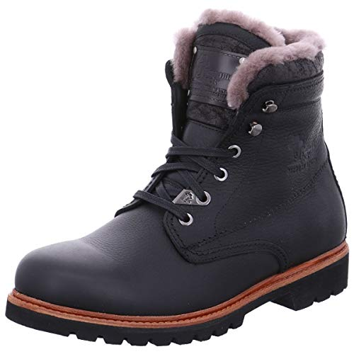 PANAMA JACK Herren Winterstiefel Panama 03 Aviator Igloo,Männer Winter-Boots,Fellboots,Lammfellstiefel,Fellstiefel,gefüttert,warm,Schwarz,EU 45