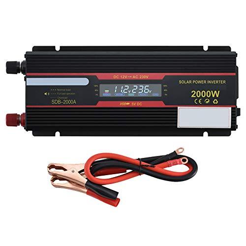 CAPTIANKN Power Inverter 2000 Watt, DC 12V to AC 110V 220V mit 1 Universal Sockets und 1 USB Port LCD Display Converters,12vto220v 110v Ac Power Inverter