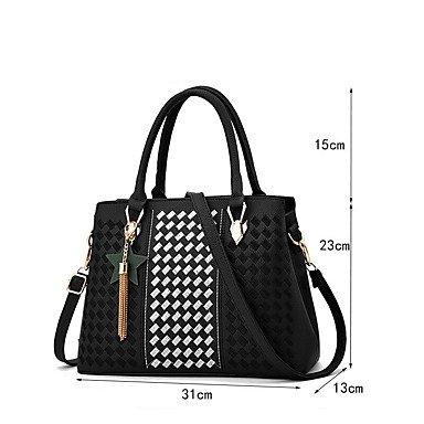Le donne della moda ricamo PU in pelle Tracolla Messenger Crossbody borse/borsa borse,Nero Purple