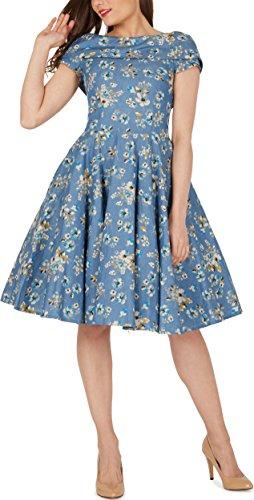 BlackButterfly 'Serena' Vintage Eden Kleid im 50er-Jahre-Stil (Denim, EUR 50 – 4XL) - 5