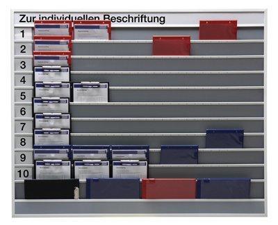 Planungstafel mit indiv. Beschiftungsmöglichkeit,1 0 Schienen, 1 Ablagefach, BxTxH 1575x78x1285 mm,