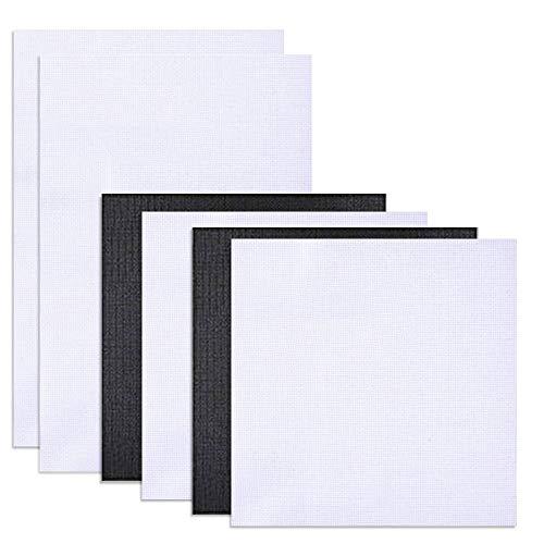 FineGood 6 Stück Classic Reserve Aida Tuch 11 Count 30,5 x 45,7 cm und 30,5 x 30,5 cm Kreuzstich Tuch - Schwarz/Weiß