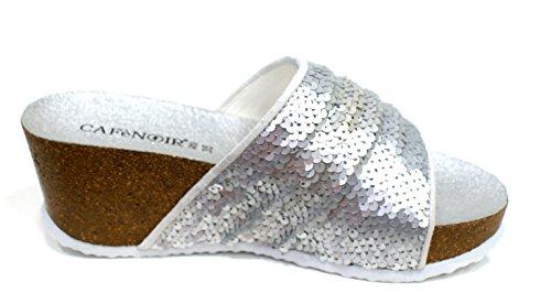 Cafè Noir Sandelholz Damen Platform Wedge Cm 7 Silber Silber