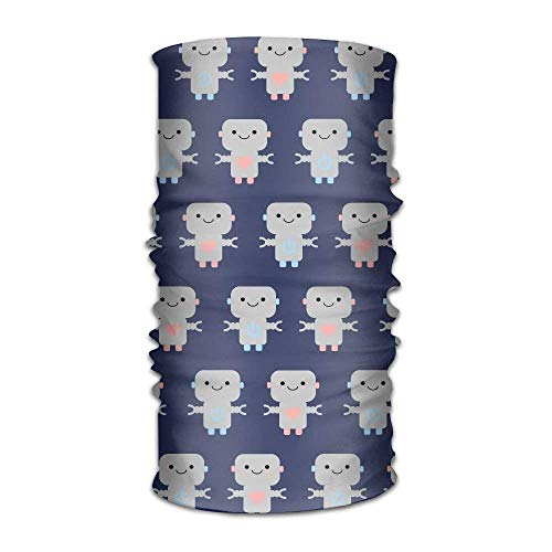 TEPEED Cute Robot Pattern Women&Men Neck Gaiter Magic Headwear Headband Face Bandana Mask Sport Scarf Neckwarmer Headwrap 12 in 1 Multi Function