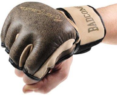 Bad Company Retro Rindsleder MMA Handschuhe I Leder Trainingshandschuhe ohne Finger I Gr. L