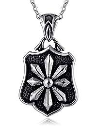 ef90fa592418 Daesar Collares Goticos Collar Plata Negro Collar Hombre Acero Inoxidable  para Grabar Colgante Hombre Collar Escudo
