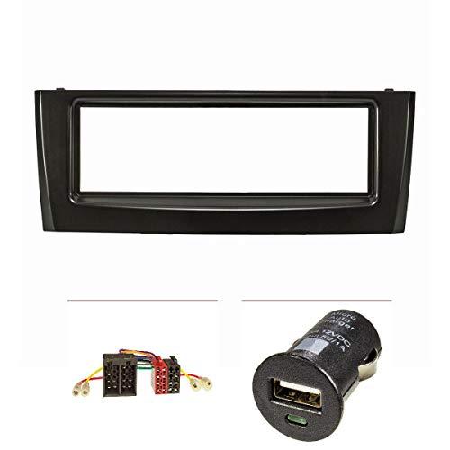 tomzz Audio 2414-019 Radioblende Set passend für FIAT Grande Punto Typ Bj.199 2005-2009 schwarz mit Radioadapter ISO, USB-Lader -