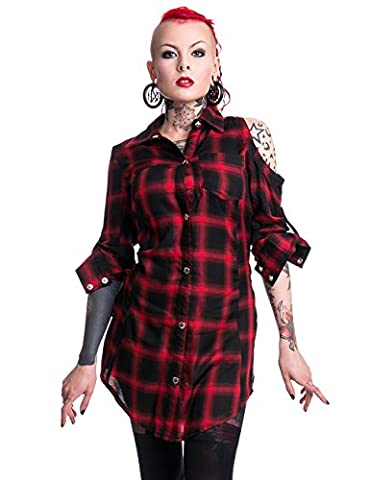 Heartless Triant Checked Plaid Tartan Lace-Up Back Extra Long Women's Shirt Red L