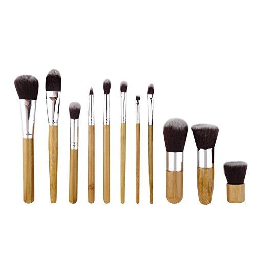 Kapmore 11 PCS Ensemble de Pinceaux de Fondation Brosse à Paupières Pinceau de Maquillage Outil Cosmétique avec Goutte D Eau Bouffée D éponge