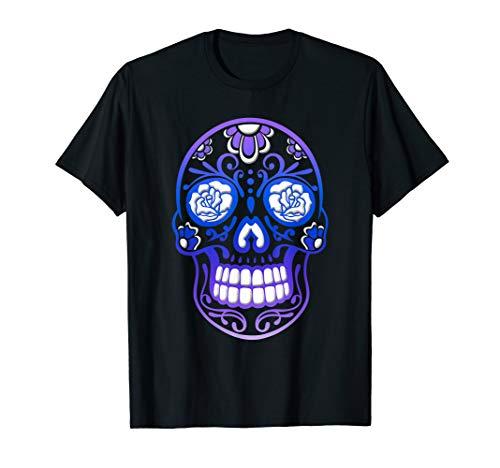 Sugar Skull T Shirt Day Of The Dead. Halloween Totenschädel.