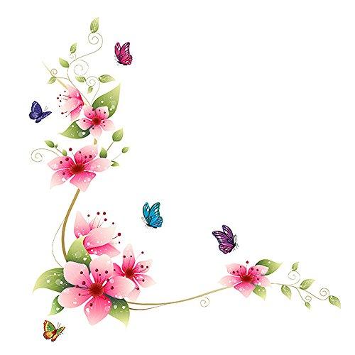 Demiawaking Fiori Farfalla Autoadesivo della Finestra Autoadesivo di Vetro Paste di Vetro Adesivo da Parete da Bagno 25 X 70
