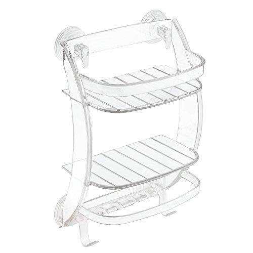 iDesign Power Lock Badezimmer-/Dusch-Caddy mit Saugnapf für Shampoo, Conditioner, Seife - Durchsichtig
