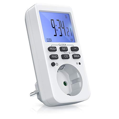 CSL - Zeitschaltuhr digital | mit LCD-Display | 3680W | 10 konfigurierbare Programme | LED-Statusanzeige | Zufallsschaltung | 12/24h-Modus | Kinderschutzsicherung