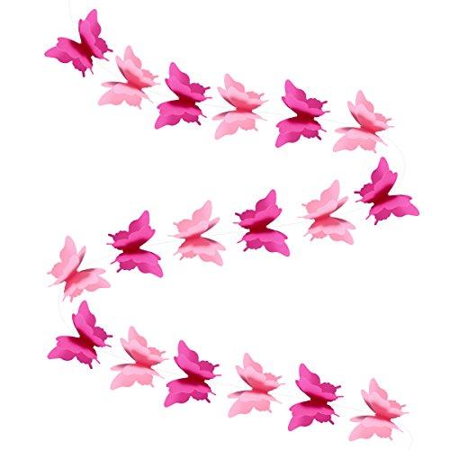 apiergirlande Schmetterling Banner 3D Schmetterling Wimpelkette Girlande für Hochzeit Geburtstag Party Babyparty Rosa ()
