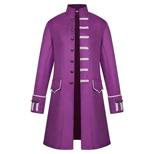 Amphia - Herren Frack Steampunk Gothic Vintage Kostüm Viktorianisch Mittellang Stehkragen Mantel, Männlich Winter Warm Vintage Mantel Jacke Mantel Outwear Knöpfe Mantel(rot,XXL)