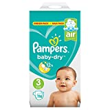 Pampers Baby Dry taille 3, 116 couches Lot de, pour respirants Sécheresse, 1er Pack (1 x)