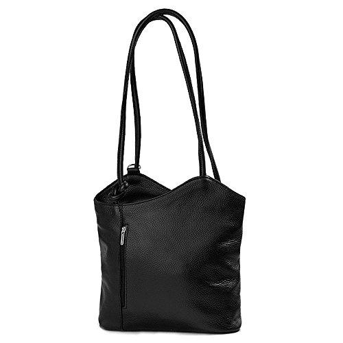 IO.IO.MIO leichter Damen Leder Rucksack Handtasche Schultertasche Umhängetasche Daypack Tagesrucksack Backpack Frauen Tasche 2in1 Damenrucksack schwarz, 27-32x30x9 cm (B x H x T)