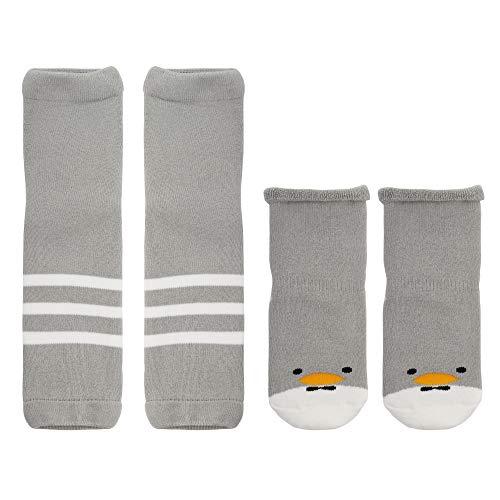 ANIMQUE Baby Socken mit Stulpen 1-3 Jahre Jungen Mädchen Rutschfest Baumwolle Söckchen Beinlinge Beinwärmer für Krabbeln Lauflernen, Gestreift Grau Entlein M