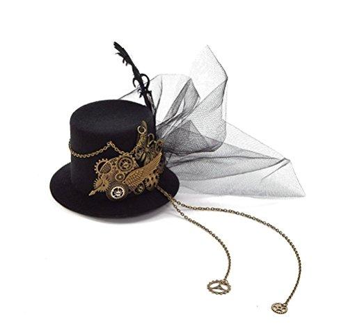 Frauen Steampunk Mini Top Hut Haarspange Punk Gear Wings Uhr Schmetterling Haarschmuck (Mini-hüte Für Frauen)
