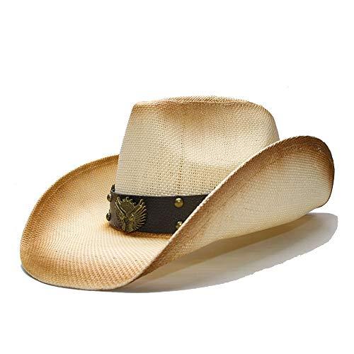 Schatten Retro Herren Sommer Strohhut Breite Seite Cowboy Sonnenhut Western Cowboyhut Ledergürtel Stilvoll (Farbe : 1, Größe : 56-58CM)