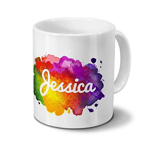 Tasse mit Namen Jessica - Motiv Color Paint - Namenstasse, Kaffeebecher, Mug, Becher, Kaffeetasse - Farbe Weiß