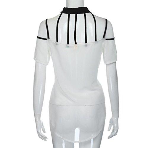 WOCACHI Damen Sommer T-Shirt Mode Frauen Casual Hollow Out Unregelmäßiger Saum transluzent Chiffon Weiß Tops Bluse T-Shirt Weiß