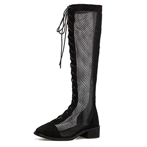 Spitze Drahtgeflecht Hohe Rohr Coole Stiefel Hohl Mode Riemen Frauen Schuhe Sandalen Weibliche Sommer Große Größe Schuhe (Farbe : Schwarz, größe : 35)